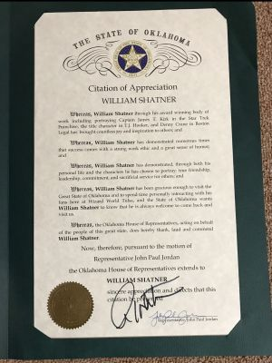 State of Oklahoma Citation of Appreciation