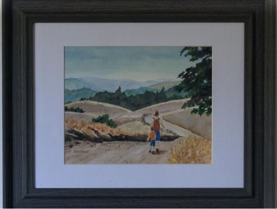 California Landscape Framed Watercolor