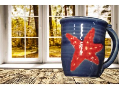 Ceramic Coffee Mug: Blue with Star Fish by Clay Cree...