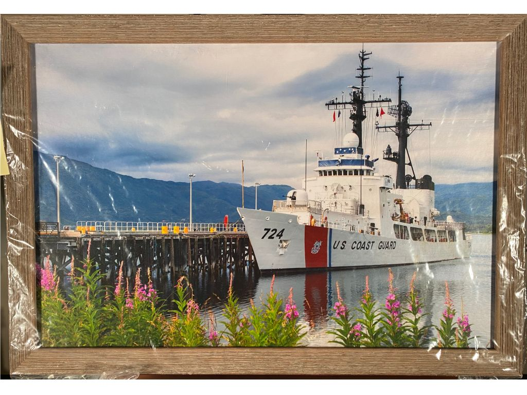 Framed Photo: USCG Cutter at Dock