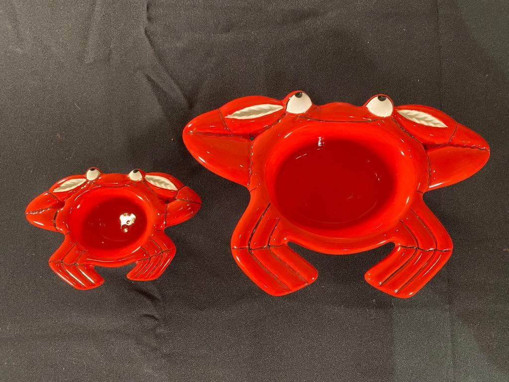 Ceramic Dishes: Set of 2 with Fun Crab Design