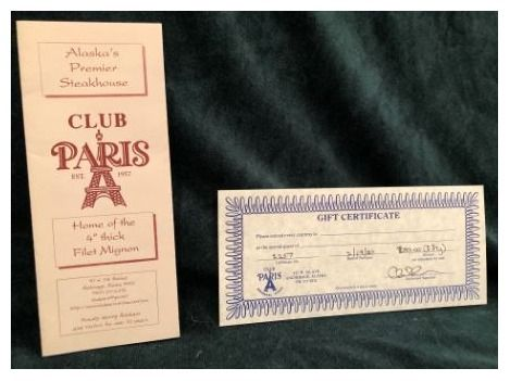$50 Gift Certificate to Club Paris in Anchorage, Alaska