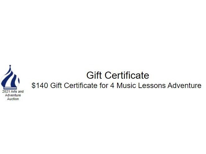 $140 Gift Certificate for 4 Music Lessons Adventure