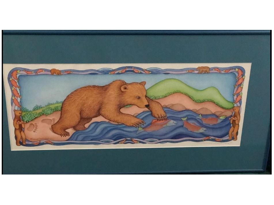 Framed Print of Bear Fishing by Shannon Cartwright