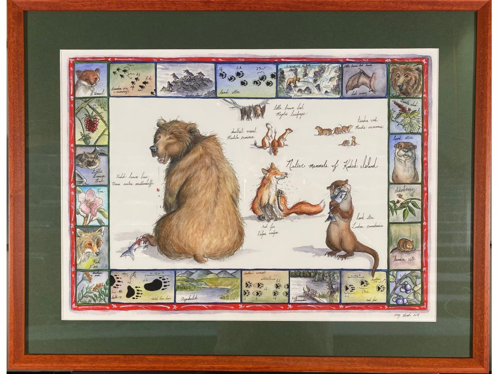 Framed Native Land Mammals of Kodiak Print by Mary R...