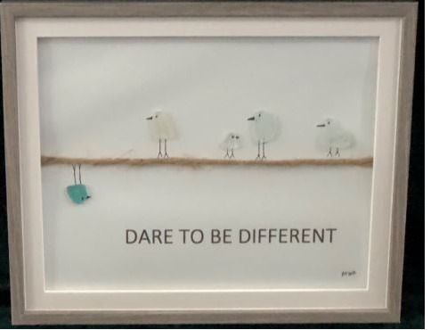 Framed Sea Glass Art: ''Dare to Be Different''  by A...