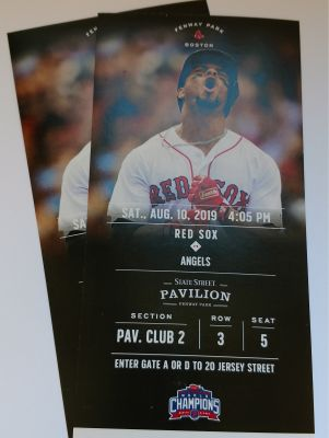 2 Tickets Red Sox v Angels State Street Pavilion, Sat., Aug 10, 2019, 4:05 pm
