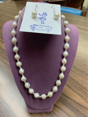 Kasumi Freshwater Pearl Necklace and Earrings
