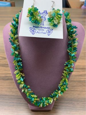 Hand Beaded Necklace with Matching Earrings