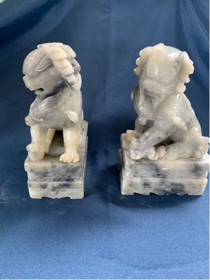 Pair of Carved Soapstone Bookends