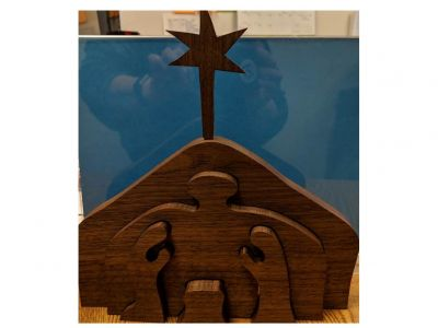 Walnut Wood-Cut Nativity Set