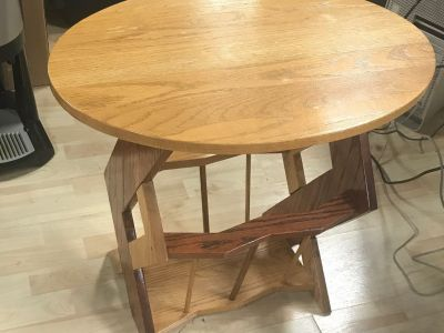Hand-Crafted Wooden End Table