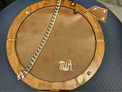 Brown Leather and Wood Designer Hand Bag