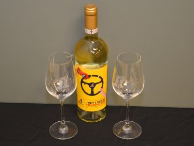 Joey Logano White Wine with Two Glasses