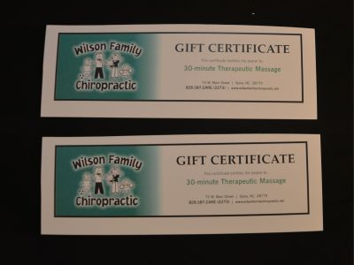 Two Massage Gift Certificates