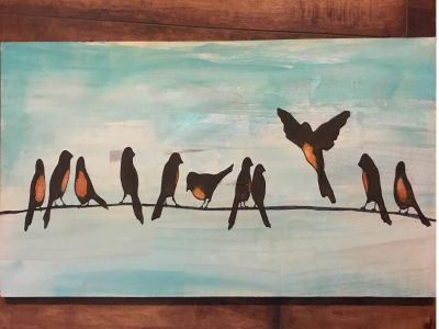 Flock O Robins, Original Oil Painting