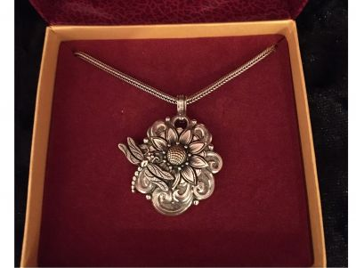 Sunflower, Dragon Fly Pendant And Silver Chain