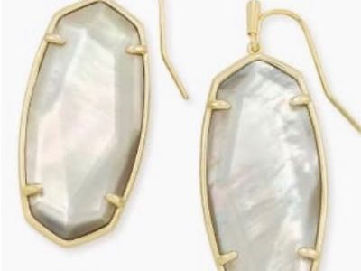 Faceted Elle Silver Drop Earrings in Gray Illusion