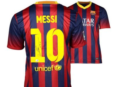 Lionel Messi Hand Signed Barcelona Soccer Jersey