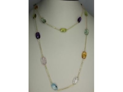 MB 36'' Two Row Multi Bead Stone Necklace