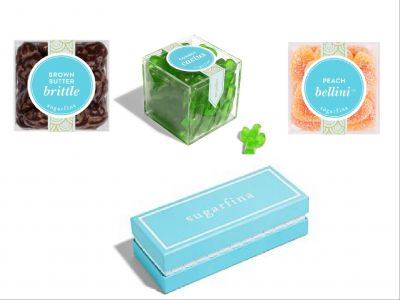 Sugarfina 3 piece Bento Box with Cowboy Cactus, Brown Butter Brittle and Peach Bellini