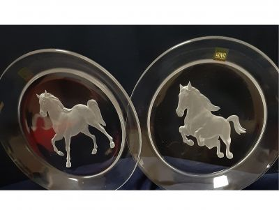 Equestrian Engraved Crystal Plates by Hoya,...