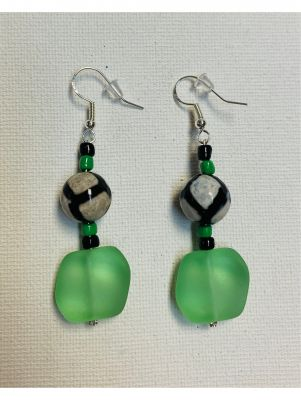 Tortugas Earrings - Green sea glass with bl...