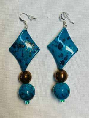 Tortugas Earrings - Turquoise diamond and r...