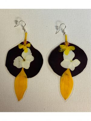 Tortugas Earrings -  Big rose, sunflower, a...