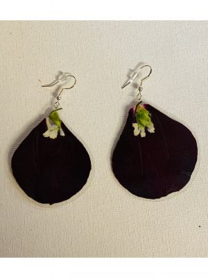 Tortugas Earrings -  Big rose petals and wi...