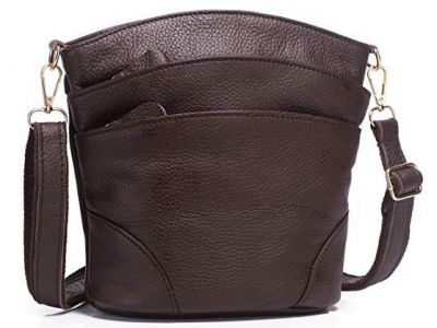 Genuine Leather Dark Brown Multi Pocket Triple Zipper Crossbody Purse