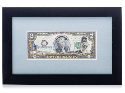 Apollo 11 Framed U.S. Mint $2.00 Bill