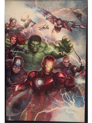 Stan Lee Signed 24x36 Marvel Wall Art