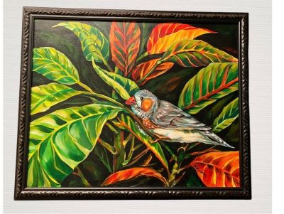 Beautiful Hemingway Zebra Finch Painting