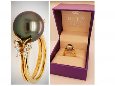 Gorgeous Tahitian Pearl Yellow Gold Ring