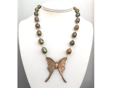Gorgeous Bronze Luna Moth Necklace with Olive Pearls