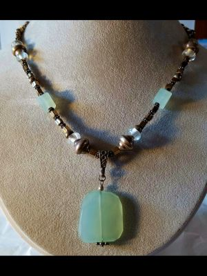 Chalcedony, Silver and Glass Necklace