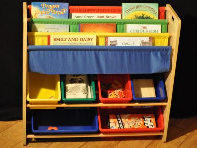 Playroom Storage Shelf with Waldorf Books and Toys