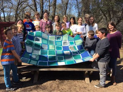 Fifth Grade Class Project: Hand-Knitted Afghan