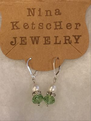 Divine Pearl and Peridot Crystal Earrings