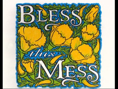 Bless This Mess: An Original Woodcut Print by Oran Miller