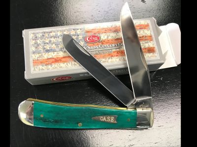 Case 2 Blade Trapper Knife- Green