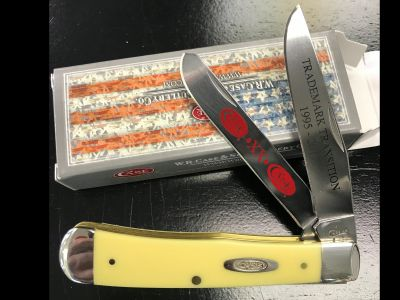 Case 2 Blade Trademark Trapper Knife - Yellow