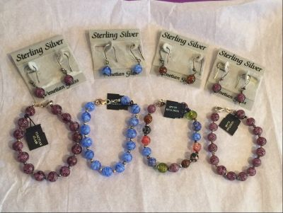 Venetian Glass Bead Earrings and Bracelets - Mix and Match