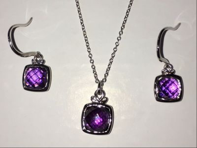 Sterling and Amethyst Pendant and Earrings
