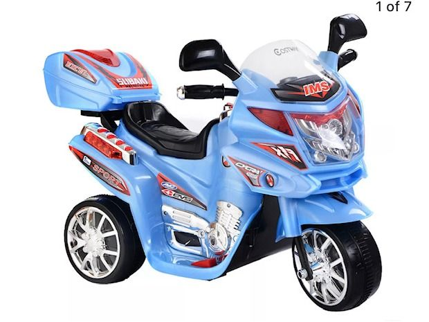Kids 3-Wheel Electric Toy Motorcycle - Blue.