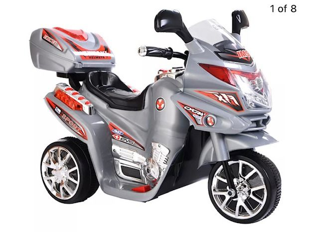 Kids 3-Wheel Electric Toy Motorcycle - Silver