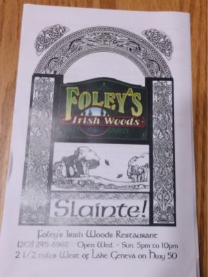 DINE & DASH-  $25 Gift Card to Foley's Irish Woods