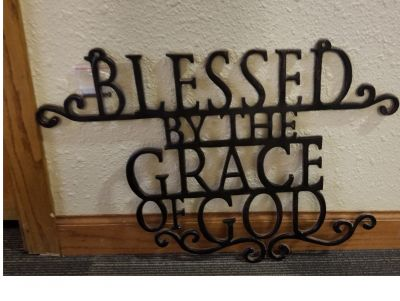 BASKET-  Blessed by the Grace of God hanging wall sign and Devotion Basket