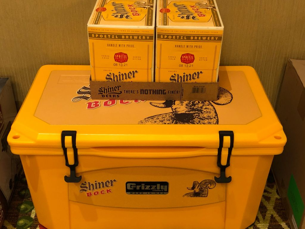 Shiner Bock Cooler with Beer